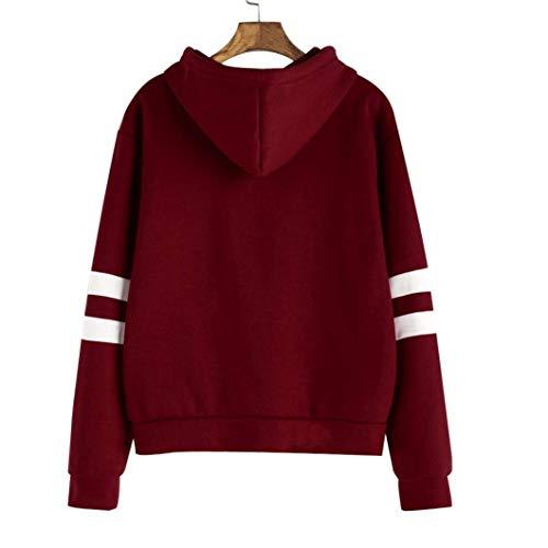 31Njuj5PpVL - Minetom Mujeres Camisetas Manga Larga Varsity Gafas Encapuchado Camisa de Entrenamiento Sudaderas Con Capucha Tops Vino Rojo ES 34