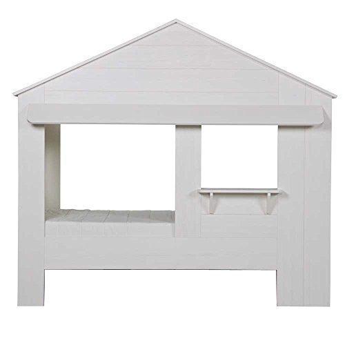 lounge-zone Hüttenbett Kinderbett Hausbett Haus Bett Abenteuerbett Spielbett HUISIE Massivholz Holz weiß Kiefer gebürstet 90x200cm 13742 6