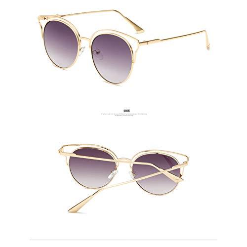 WZYMNTYJ Sonnenbrille Cat Eye Frau Mode Sonnenbrillen Eyewear Brillen Runde Verspiegelte Linse Doppel Metallrahmen Party Oculos