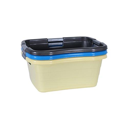 axentia Wäschekorb schmal - Wanne eckig - Waschschüssel stapelbar - Wäschewanne Kunststoff - Plastikschüssel Weiß, Blau oder Grau als Fußwanne, Spülschüssel oder Spülwanne zum Camping