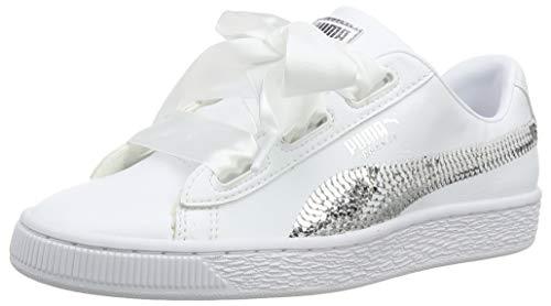 Puma Mädchen Basket Heart Bling JR Sneaker, Weiß White Silver 02, 37 EU