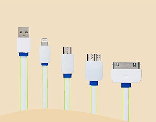 kemket Multifunktions Ladekabel, Hohe Qualität 4in 1USB Ladegerät Stecker für iPhone 6, 5, 5S, Micro USB für Samsung Galaxy S6S5S4, Note 3, Power Bank Tragbares Ladegerät und viele Smartphones - Phone Windows Ladegerät Tragbares