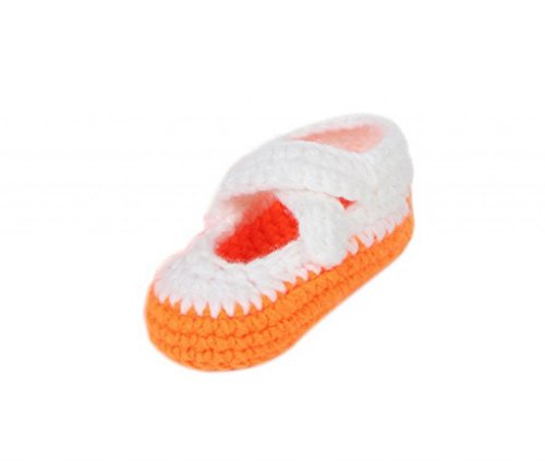 Smile YKK Gestrickte Krabbelschuhe Schuhe flauschige Baby-Unisex Länge 11 cm Flip Flops Violett Einfarbig Orange Q ywzNRGQ6