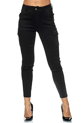 Elara Pantalon Cargo Femme Slim Fit Denim Chunkyrayan 753-2A Black 38