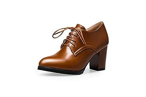 balamasa pour femme à lacets massif High-Heels pumps-shoes en caoutchouc - Marron - marron, 37 1/3