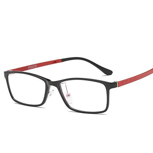 YMTP Quadratischer Transparenter Glasrahmen Unisex Tag-Titan-Klare Brillen Gestaltet Frauen- Und Mannschauspiele Für Myopie, Schwarzes Rot