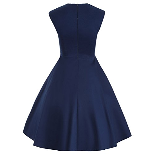 CHENGYANG Femme Retro Rockabilly Carré Encolure Sans Manches Polka Dot Épissure Bouton Robe Foncé Bleu
