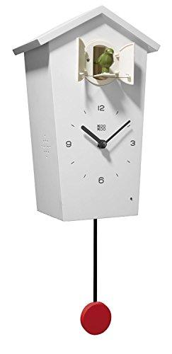 KOOKOO BirdHouse Weiß Wanduhr mit 12 natürlichen Vögelstimmen aus der Natur oder Kuckucksuhr moderne design Singvögel Uhr mit Pendel