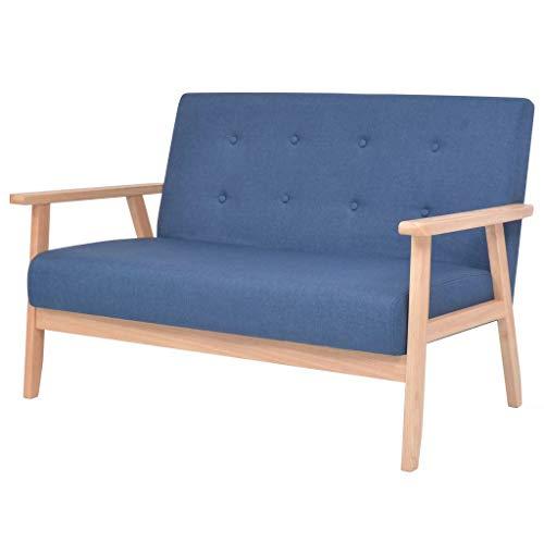 Stil-stoff-sofa-couch (tidyard Stoffsofa Sofa 2-Sitzer Kleines Couch im Skandinavischen Stil, aus Holzrahmen und Stoff, Gelb/Blau Optional, 113,5 x 67 x 73,5 cm (B x T x H))