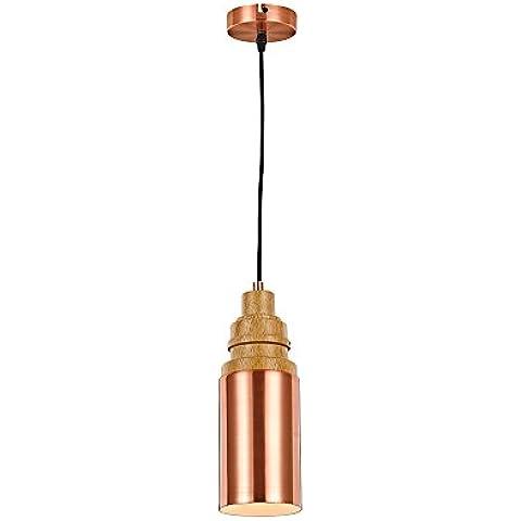 Candil de techo en el estilo vintage, lámpara en forma de un tubo de cobre en el estilo industrial, candil colgante de estilo de metal cobreado, lámpara en forma de un tubo con una decoración de cobre - Ø11 cm, cable de color negro, zócalo