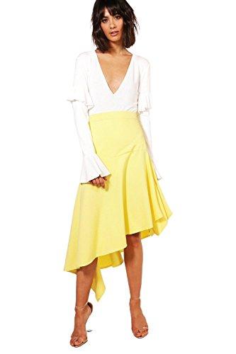 Yellow Womens Kacy Woven Asymetric Ruffle Hem Maxi Skirt - 12