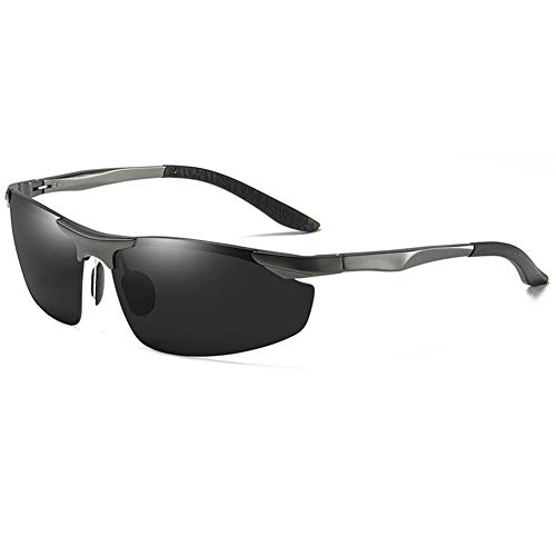 BFQCBFSG Herren Schwarze Sonnenbrille Magnesiumlegierung Mode Polarisator Fahren Uv Fahrerspiegel Sonnenbrille Mit Rundem Gesicht Retro Urlaub Eckige Brille, B