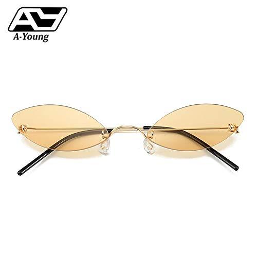 WET0VSD Kleine Rahmenlose Neue Ankunft Sonnenbrille Für Frauen Cat Eye Shades Trendy Licht Farbe Zeigen Stil Mode Brillen