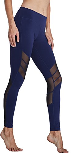 KomPrexx Sport Leggings Damen Mesh Fitness Yoga Training Gym Tights Lang Trainings Workout Sporttights 13K.Blau
