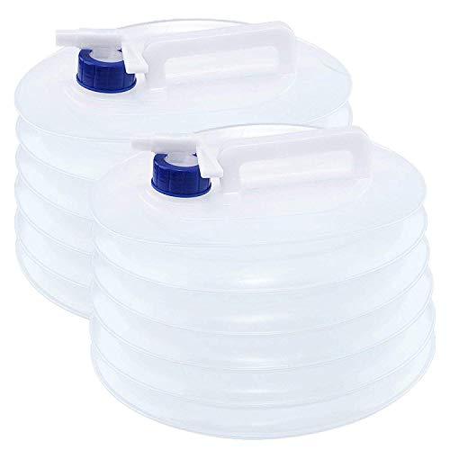 Bramble 2X Faltkanister & Faltbarer Camping Wasserkanister, 5 L Wassertank - Outdoor Falt-Kanister, Wasserspender, Trinkwasserkanister - Wasser Aufbewahrung mit Zapf-Hahn, Wasser kanister behälter