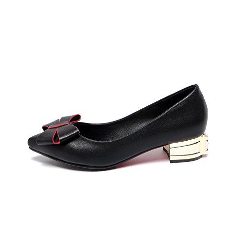 AgooLar Femme Matière Mélangee Tire Pointu à Talon Bas Couleur Unie Chaussures Légeres Noir