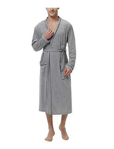 Sykooria Albornoz para Hombre, Bata de algodón de Punto Ligero, Manga Larga, Estilo Kimono,...