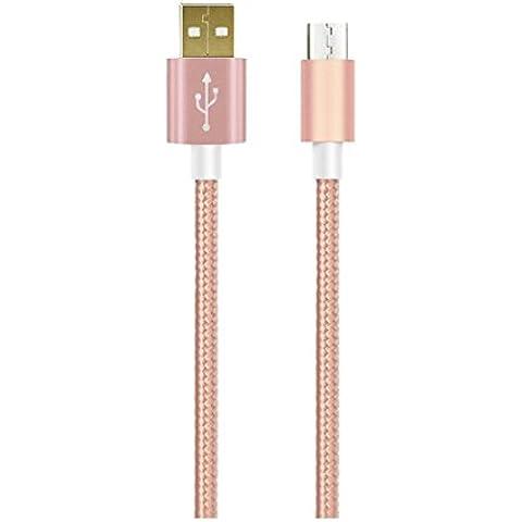 1m MicroUSB a USB de alta velocidad | Cable cargador y de datos | Cable de carga rápida con sección especialmente grande de 4,4 mm | Contactos recubiertos de oro 24 k | para Android, Samsung, HTC, Motorola, Nokia, LG, HP, Sony, Blackberry y