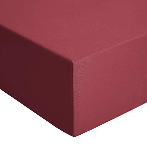 AmazonBasics - Sábana bajera de jersey, Rojo - 80 x 190 cm