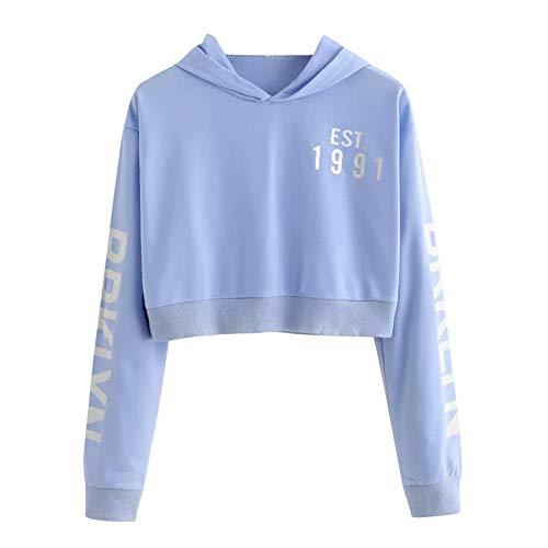 Hund Long Sleeve Tee (iHENGH Sweatshirt Damen,Women Herbst Winter Letters Long Sleeve Hoodie Sweatshirt Pullover Tops Blouse Shirt (Blau,EU-40/CN-XL))