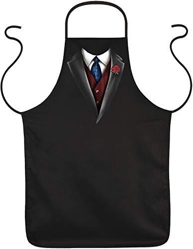 Herren Grillschürze - Smoking Krawatte Weste - Koch Küchenschürze schwarz cool bedruckt Geschenk-Set Schürze mit lustiger Urkunde