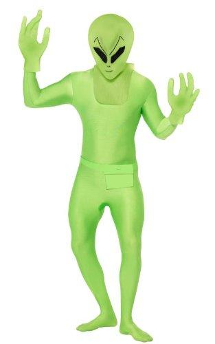 (Smiffys Alienkostüm Kostüm Alien für Herren Ganzkörperanzug Anzug Ganzkörper Grün Halloween Herrenkostüm Halloweenkostüm Gr. 48/50 (M), 52/54 (L), Größe:M)