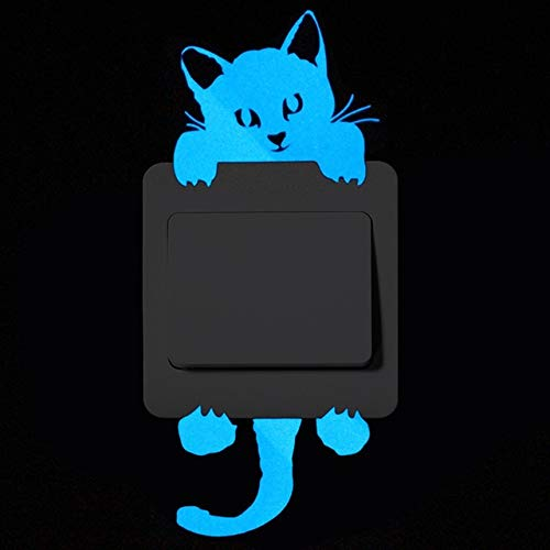 DAVITU US Warehouse - Kreative lustige Tier-Dekoration, niedlicher Cartoon-Schalter, leuchtende Aufkleber, Fluoreszierende Wandaufkleber, ablösbar a