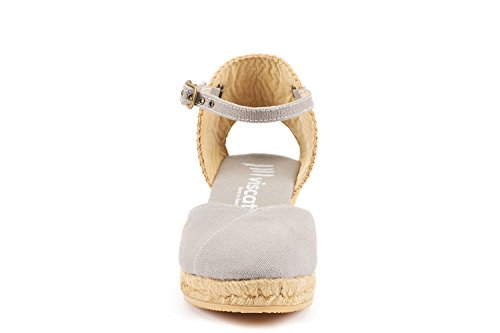 VISCATA Pubol Ankle-Strap, Closed Toe, Classic Espadrilles with 2-inch Heel Made in Spain Asche