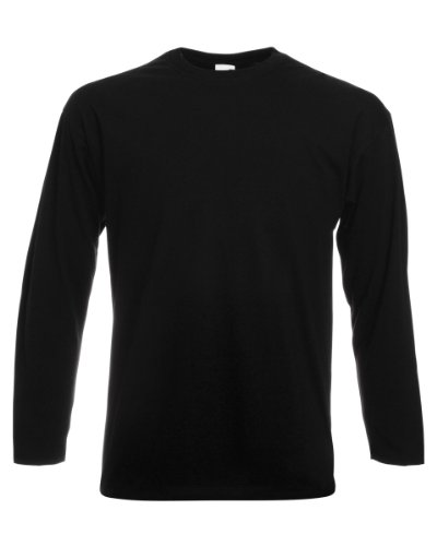 31Nkj4XqARL - BEST BUY #1 Fruit Of The Loom Mens Valueweight Crew Neck Long Sleeve T-Shirt (L) (Black) Reviews and price compare uk