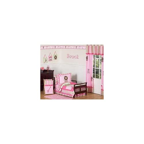 Pink and Green Girls Jungle Junior Cot Toddler Bedding 5 pc Set