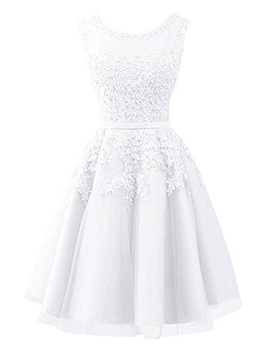 Carnivalprom Damen Abendkleider Mit Applikationen Elegant Ballkleid Brautjungfernkleider Kurz Partykleid Weiß