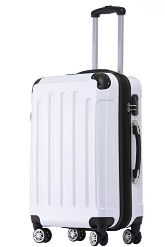BEIBYE Zwillingsrollen 2048 Hartschale Trolley Koffer Reisekoffer Taschen Gepäck in M-L-XL-Set (Weiß, L)