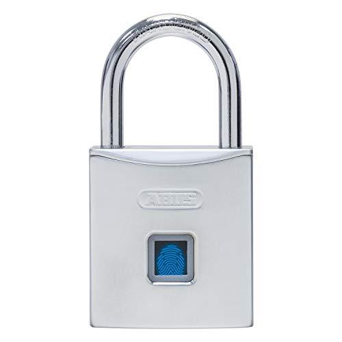 ABUS Vorhangschloss Touch 56/50 öffnen per Fingerabdruck - Schlüsselloses Schloss - 10 Benutzer - ideal für Sport, Garten, Keller und Büro - silber - 86531