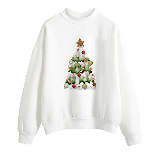 Christmas Sweater Damen Oversize UFODB Pullovern Drucken Freizeit -