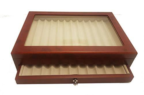 Caja de Madera con Vitrina Caja Estuche para 23Plumas Acabado radica