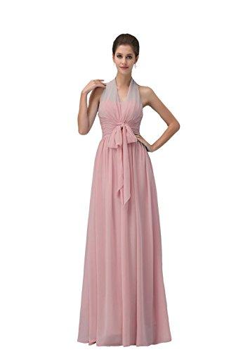 YiYaDawn Langes Rückenfreies Brautjungfernkleid Ballkleid Festkleid für Damen Rosa