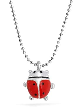 Bling Jewelry Kinder rot Emaille Marienkäfer Anhänger Rhodinierter Kette 16 Zoll