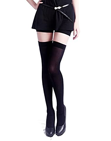 HDE Women's Thigh High Stockings Opaque Tights Over the Knee Nylon Socks (Black, One Size)