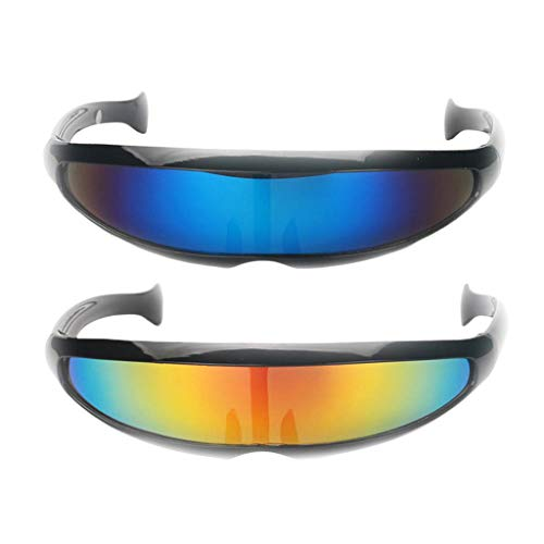 Baoblaze 2er Set Futuristische Cyclops Sonnenbrille Verspiegelte Brille Party Requisiten