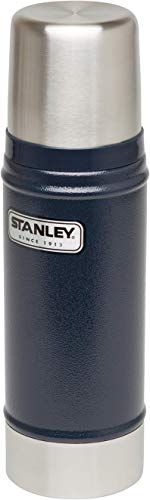 Stanley Vakuum-Thermosflasche, 0.47 Liter, Hammertone Navy, 18/8 Stainless Edelstahl, Integrierter Thermobecher, Doppelwandige Isolierung Isolierflasche Isolierkanne Kaffeekanne