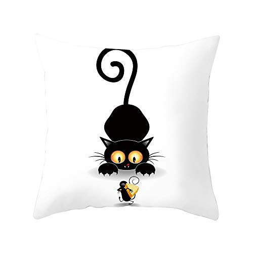 ABsoar Kissenbezug Niedlich Katzendruck Pillow Case Sofa Taille Throw PillowCover Kissenbezug Home Decor (Kissen ist Nicht im Preis inbegriffen)