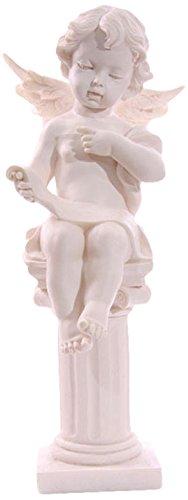 Bellissima statua con cherubino angioletto seduto su colonna in resina