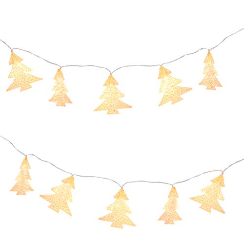 MoKo Xmas Tree String Lights, 5m/16ft 40 LED Waterproof Lights, 2 Lighting Modes, Battery Powered Fairy Light for Halloween Christmas Weddings Birthday Family School Parties Décor - Warm White