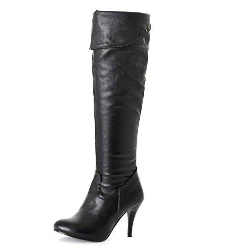 Beauqueen Matte PU über Knie High Winter Stiefel Mandel geformt Zeh Stilett High Heel Party Casual Warm Feminine Reißverschluss Stiefel Customized Europa Größe 34-47 black (pu)