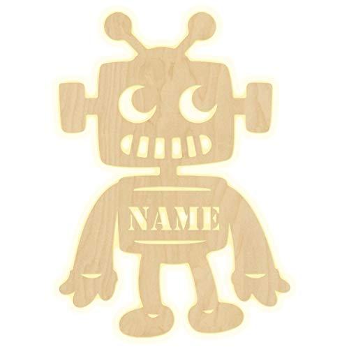 """Schlummerlicht""""Roboter"""" Kinderzimmer personalisierte Lampe mit Namen Nachtlicht Leuchte LED Wandleuchte Dekoration Holz Jungen Mädchen Baby Geschenk Set Wandlampe"""