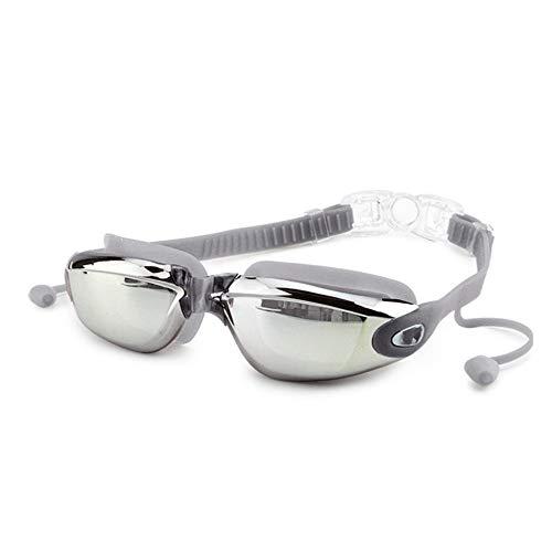 Schwimmbrille, Schwimmbrille mit Antibeschlag und UV Schutz, Schwimmbrille Silikon wasserdicht Anti-Fog-Schwimmbrille Männer und Frauen große Box Brille mit Ohrenstöpsel Schutzbrille verbunden, grau
