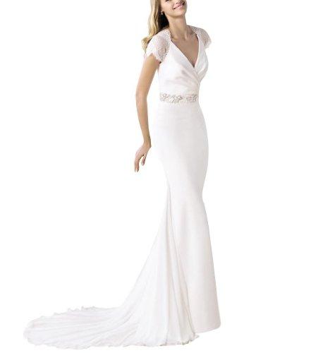 GEORGE BRIDE Satin mit V-Ausschnitt Fluegelaermel Ballkleid Hochzeitskleid Brautkleider...