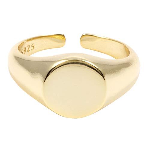 Mintever Damen Siegelring Vergoldet   Signet Ring in Goldfarbe Sterlingsilber Schmuck