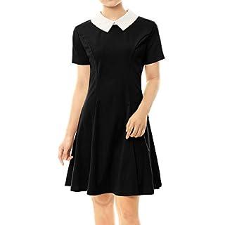 Allegra K Women's Dresses Contrast Doll Collar Short Sleeves Above Knee Flare Dress Black S (UK 8)