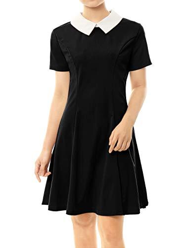 Allegra K Damen A Linie Kurzarm Panel Bubikragen Minikleid Kleid Schwarz L(EU 44)